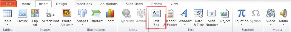Insert > Text Box